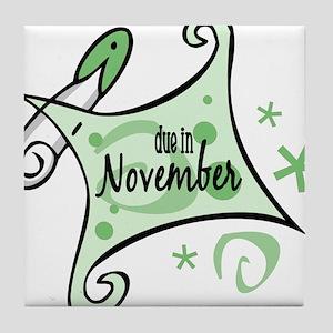 Due in November [Green] Tile Coaster